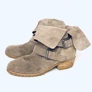 Dolce Vita Tan suede gold down Moto boots sz 9